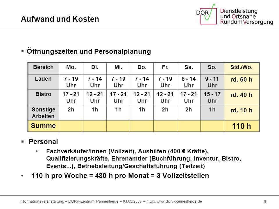 4 Informationsveranstaltung – DORV-Zentrum Pannesheide – 03.05.2009 – http://www.dorv-pannesheide.de Aufwand und Kosten Investitionen (Initialkosten)