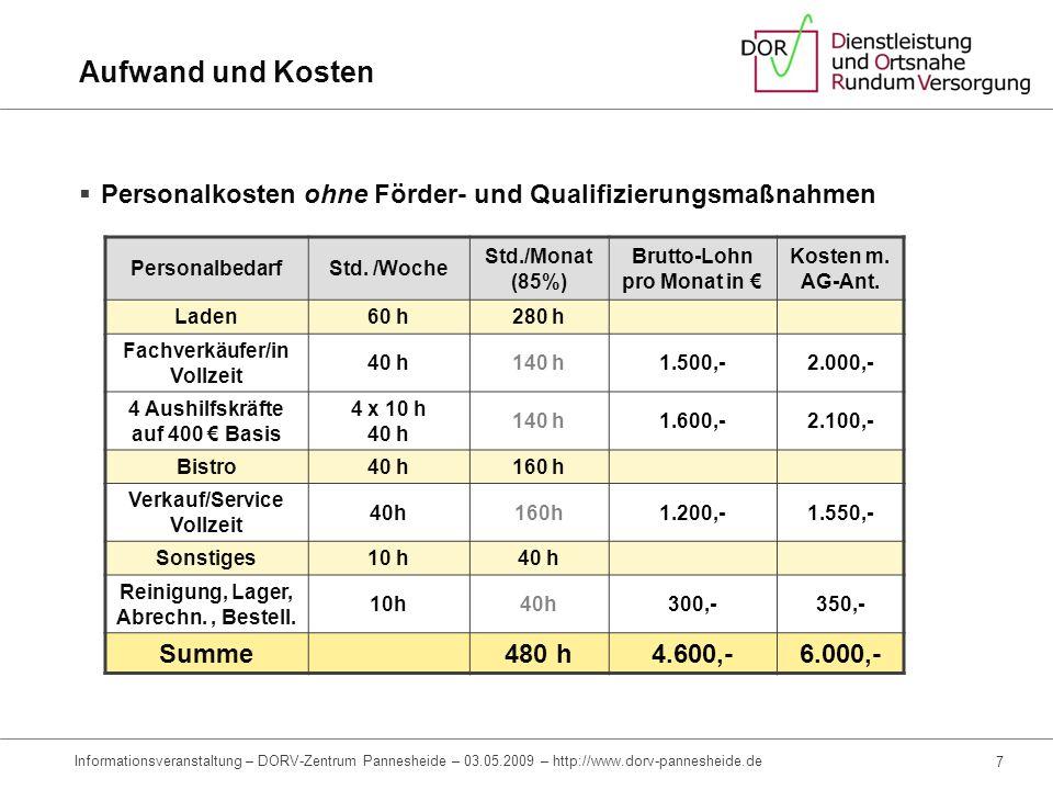 5 Informationsveranstaltung – DORV-Zentrum Pannesheide – 03.05.2009 – http://www.dorv-pannesheide.de Aufwand und Kosten Fixe Kosten (monatliche Ausgab
