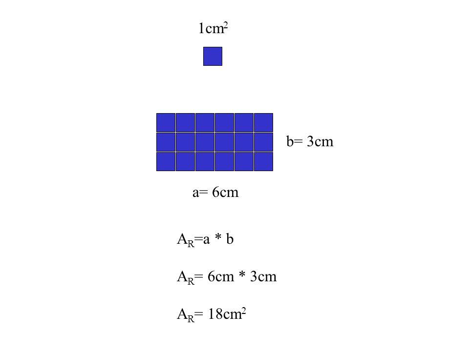A R =a * b A R = 6cm * 3cm A R = 18cm 2 1cm 2 a= 6cm b= 3cm