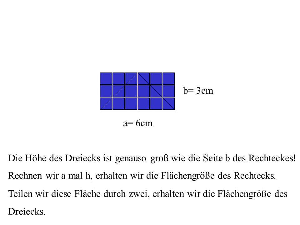 a= 6cm b= 3cm Die Höhe des Dreiecks ist genauso groß wie die Seite b des Rechteckes.