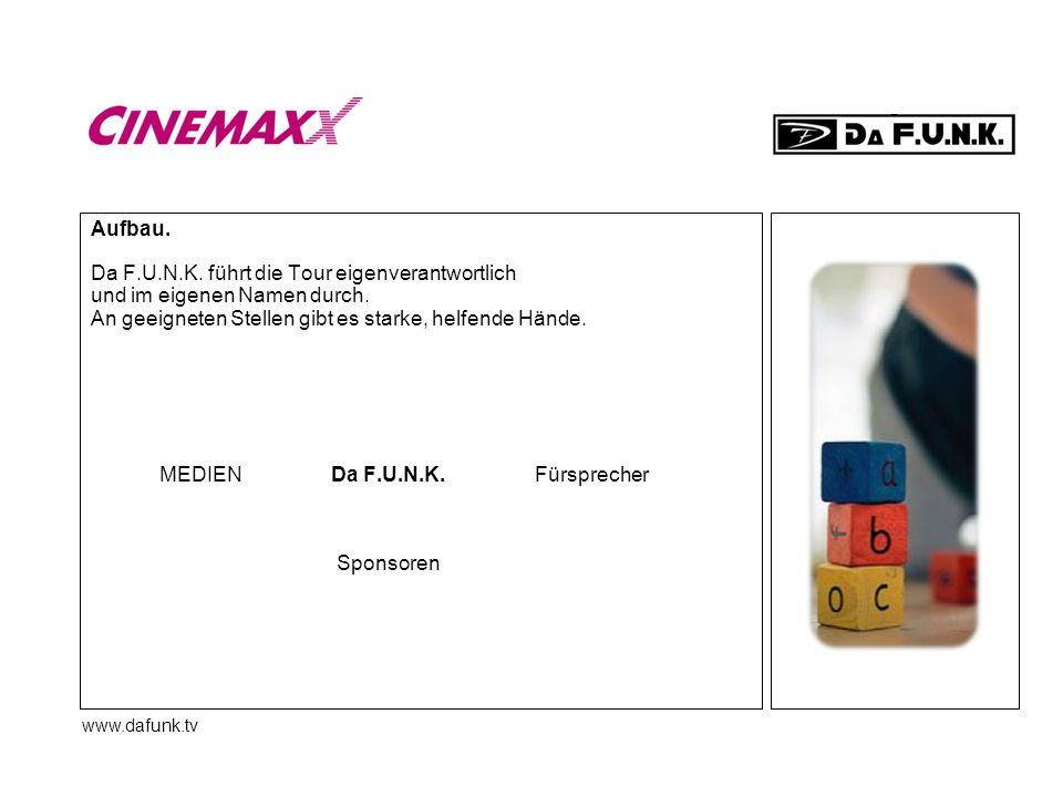 www.dafunk.tv Aufbau. Da F.U.N.K. führt die Tour eigenverantwortlich und im eigenen Namen durch. An geeigneten Stellen gibt es starke, helfende Hände.