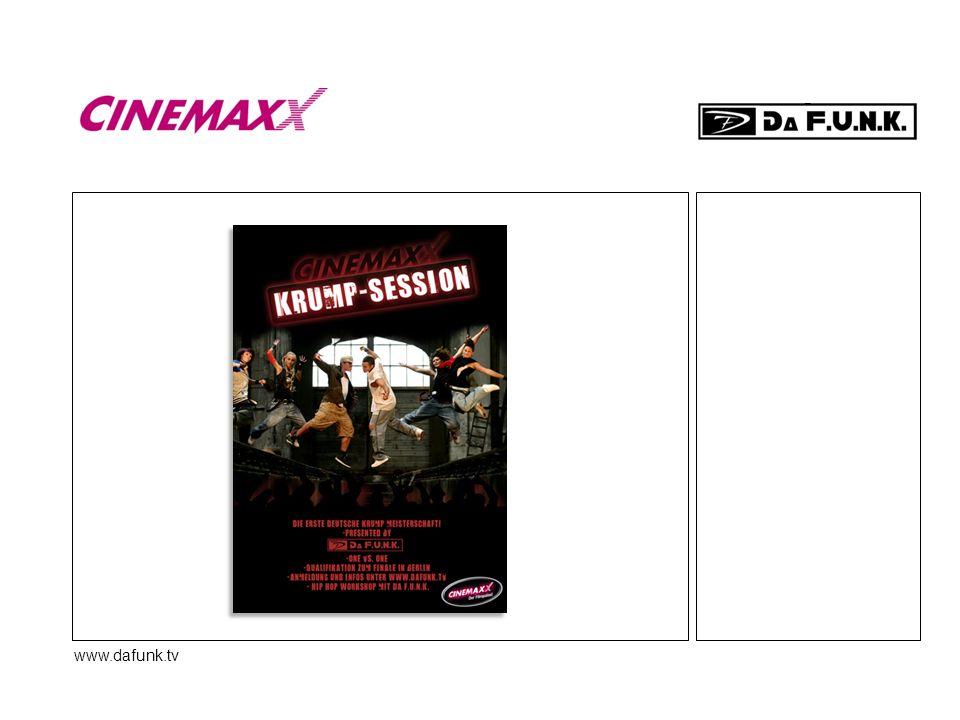 www.dafunk.tv Location.Das CinemaxX ist die perfekte Plattform für das Projekt.