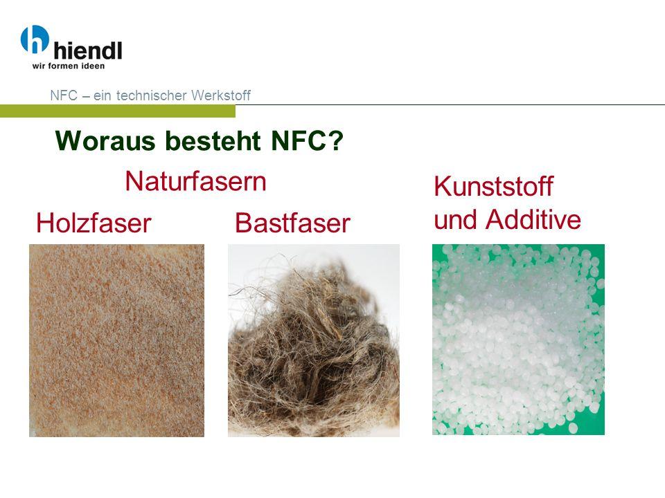 Woraus besteht NFC? NFC – ein technischer Werkstoff Naturfasern Kunststoff und Additive HolzfaserBastfaser
