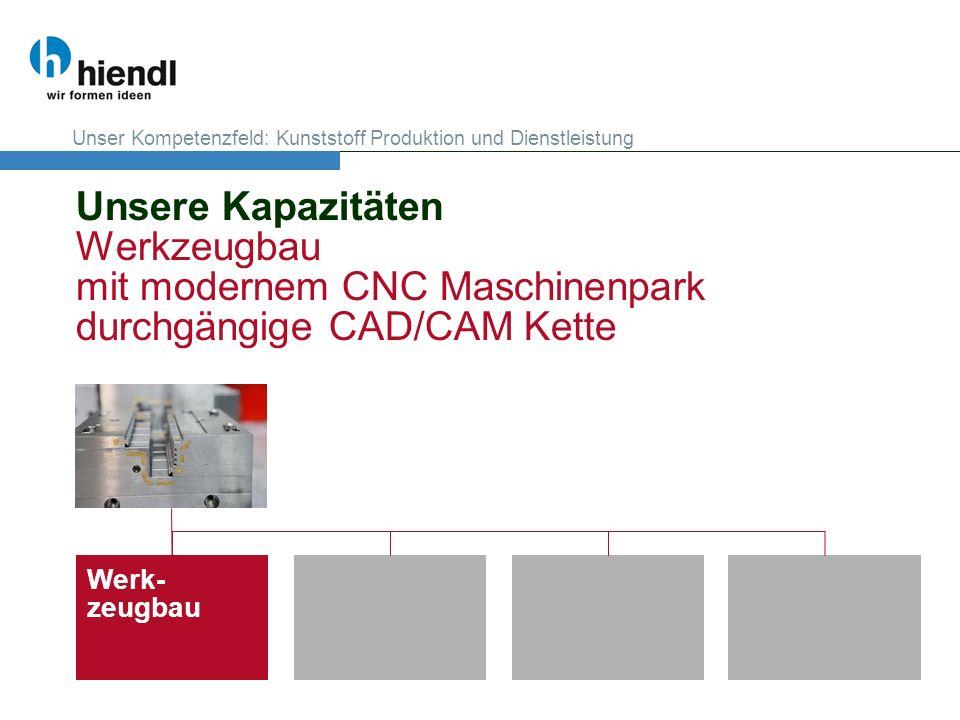 Unsere Kapazitäten Werkzeugbau mit modernem CNC Maschinenpark durchgängige CAD/CAM Kette Werk- zeugbau Unser Kompetenzfeld: Kunststoff Produktion und