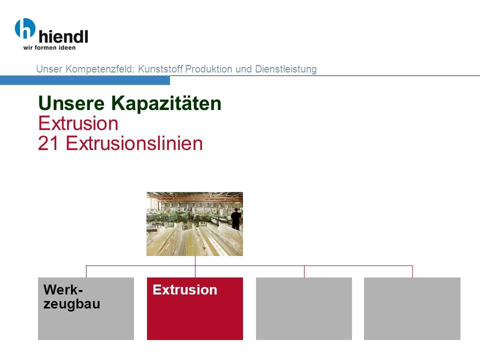 Unsere Kapazitäten Extrusion 21 Extrusionslinien Werk- zeugbau Extrusion Unser Kompetenzfeld: Kunststoff Produktion und Dienstleistung