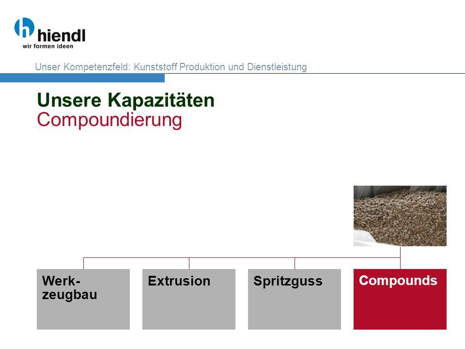 Unsere Kapazitäten Compoundierung Werk- zeugbau CompoundsExtrusionSpritzguss Unser Kompetenzfeld: Kunststoff Produktion und Dienstleistung
