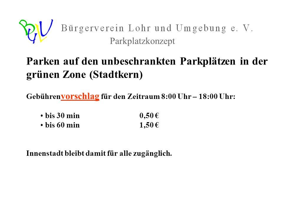 Parken auf den unbeschrankten Parkplätzen in der grünen Zone (Stadtkern) Gebühren vorschlag für den Zeitraum 8:00 Uhr – 18:00 Uhr: bis 30 min 0,50 bis