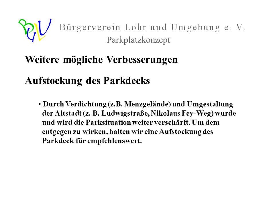 Weitere mögliche Verbesserungen Aufstockung des Parkdecks Durch Verdichtung (z.B. Menzgelände) und Umgestaltung der Altstadt (z. B. Ludwigstraße, Niko