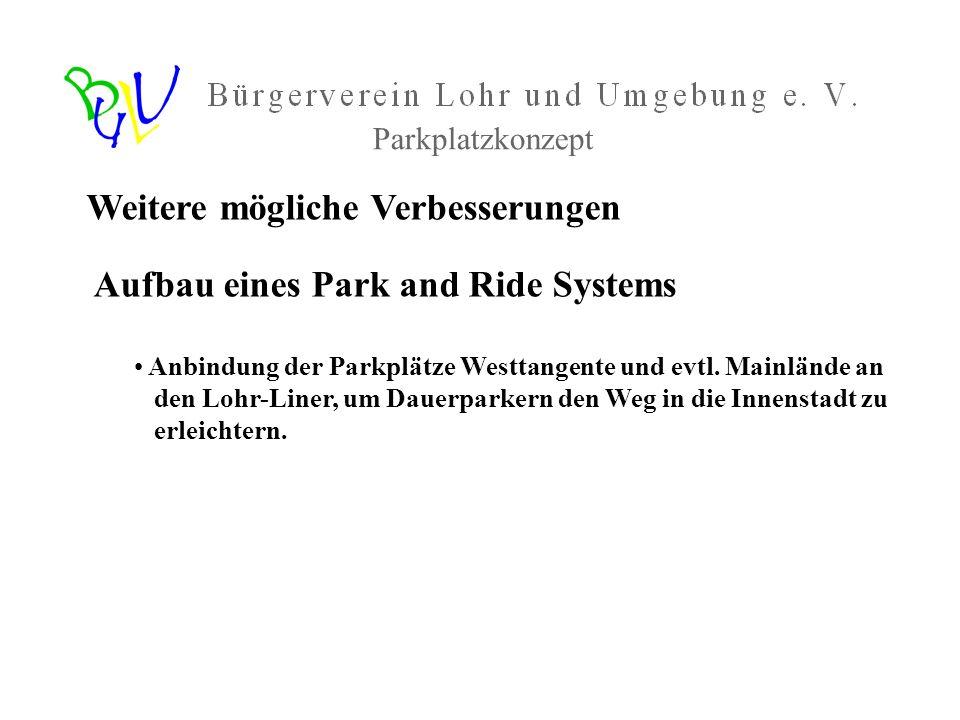 Weitere mögliche Verbesserungen Aufbau eines Park and Ride Systems Anbindung der Parkplätze Westtangente und evtl. Mainlände an den Lohr-Liner, um Dau
