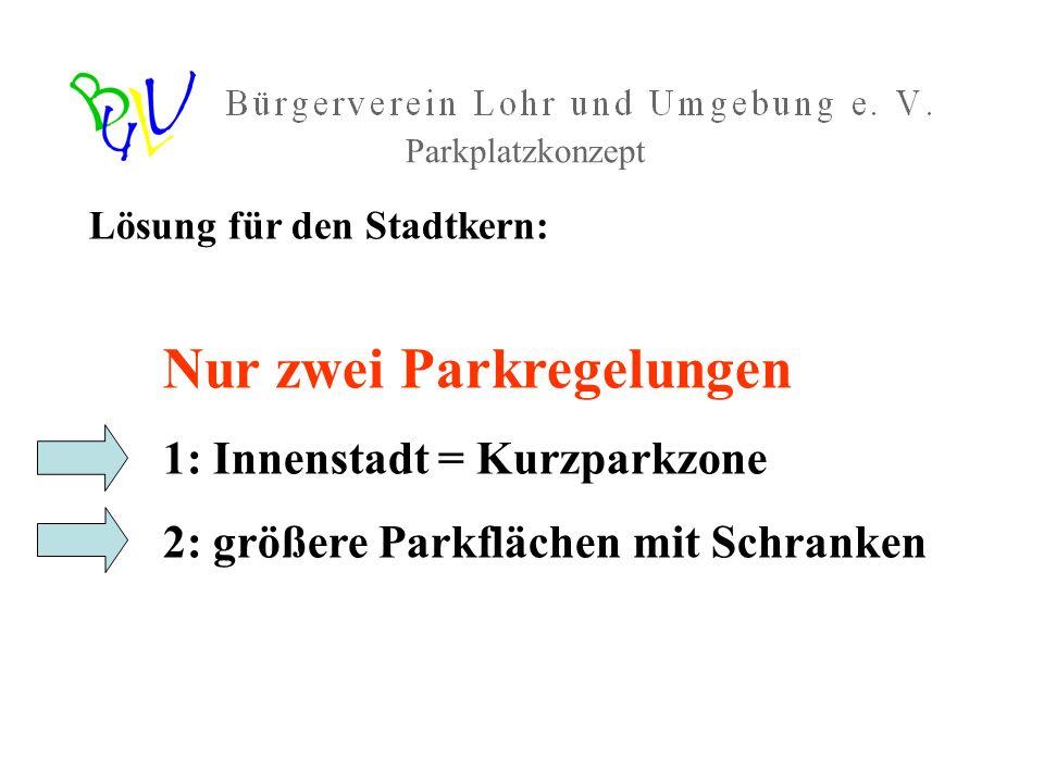 Parkplatzkonzept Lösung für den Stadtkern: Nur zwei Parkregelungen 1: Innenstadt = Kurzparkzone 2: größere Parkflächen mit Schranken
