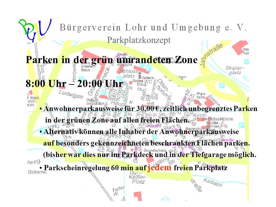 Parken in der grün umrandeten Zone 8:00 Uhr – 20:00 Uhr Anwohnerparkausweise für 30,00, zeitlich unbegrenztes Parken in der grünen Zone auf allen frei