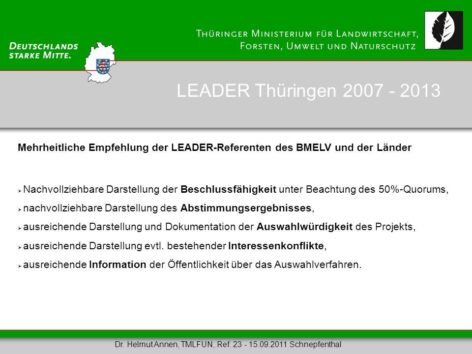 Mehrheitliche Empfehlung der LEADER-Referenten des BMELV und der Länder Nachvollziehbare Darstellung der Beschlussfähigkeit unter Beachtung des 50%-Qu
