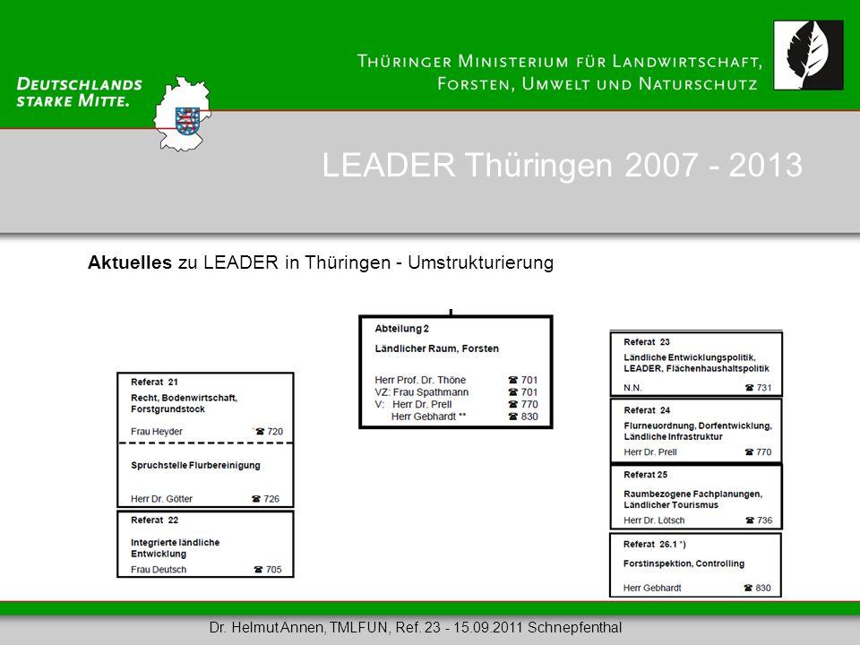 Aktuelles zu LEADER in Thüringen - Umstrukturierung LEADER Thüringen 2007 - 2013 Dr. Helmut Annen, TMLFUN, Ref. 23 - 15.09.2011 Schnepfenthal