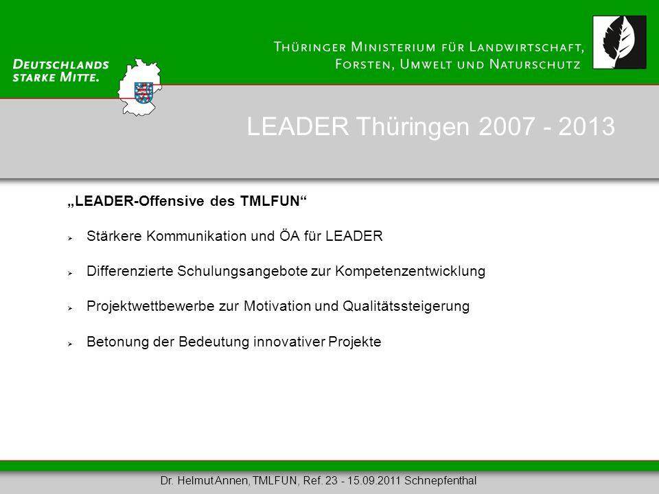 LEADER-Offensive des TMLFUN Stärkere Kommunikation und ÖA für LEADER Differenzierte Schulungsangebote zur Kompetenzentwicklung Projektwettbewerbe zur