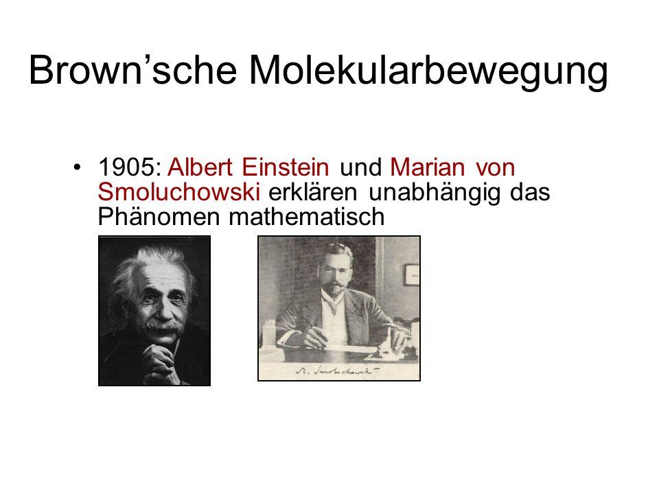 1905: Albert Einstein und Marian von Smoluchowski erklären unabhängig das Phänomen mathematisch Brownsche Molekularbewegung