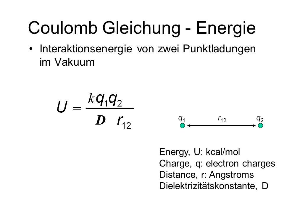 Coulomb Gleichung - Energie Interaktionsenergie von zwei Punktladungen im Vakuum r 12 q2q2 q1q1 Energy, U: kcal/mol Charge, q: electron charges Distance, r: Angstroms Dielektrizitätskonstante, D D k