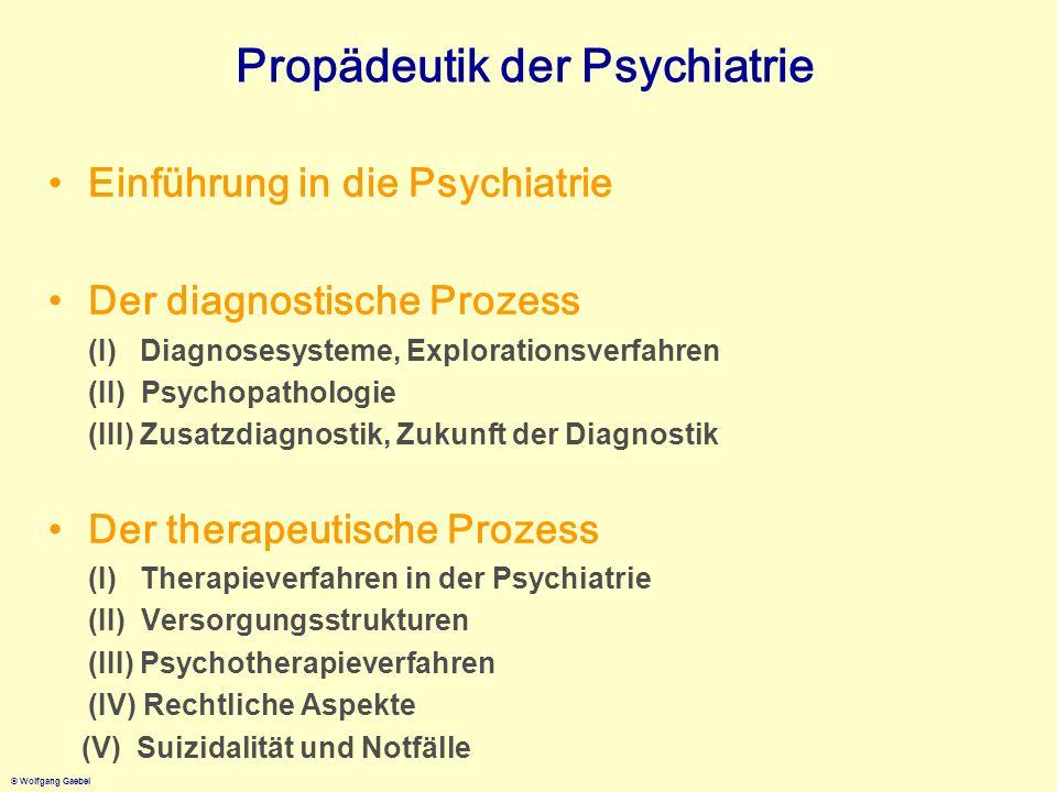 © Wolfgang Gaebel Propädeutik der Psychiatrie Einführung in die Psychiatrie Der diagnostische Prozess (I) Diagnosesysteme, Explorationsverfahren (II)