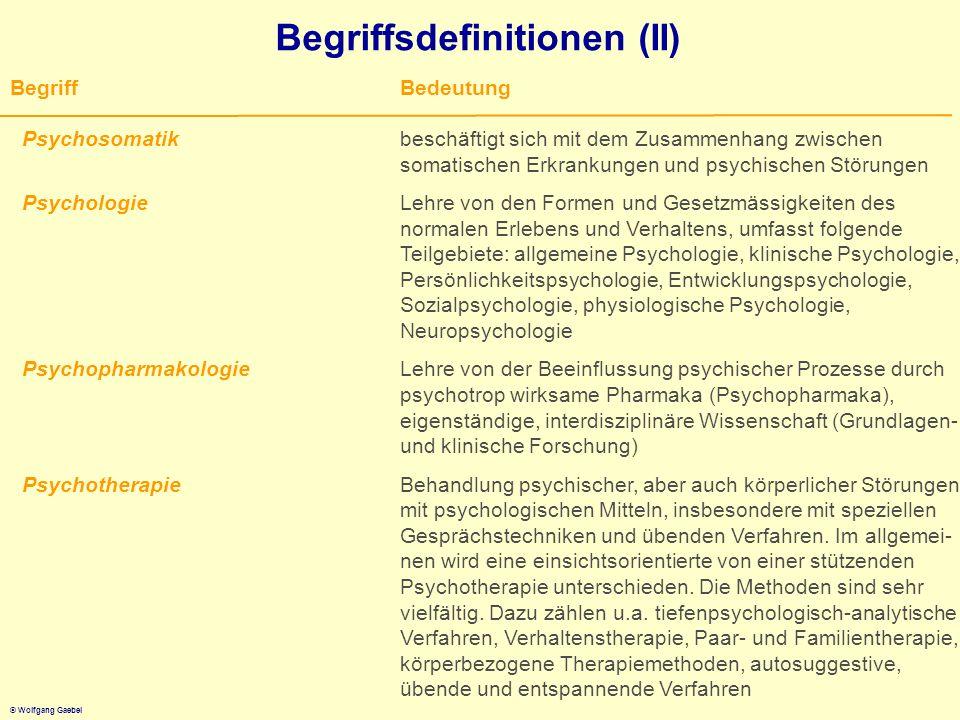 © Wolfgang Gaebel Begriffsdefinitionen (II) BegriffBedeutung Psychosomatikbeschäftigt sich mit dem Zusammenhang zwischen somatischen Erkrankungen und
