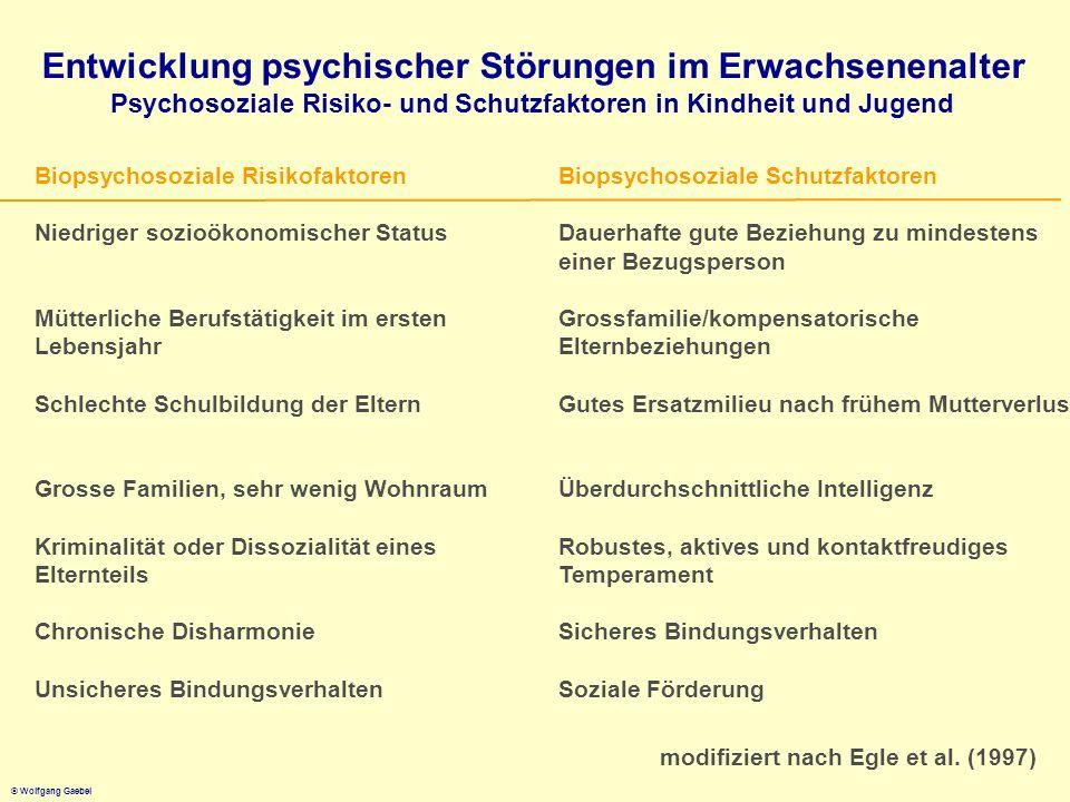 © Wolfgang Gaebel Entwicklung psychischer Störungen im Erwachsenenalter Psychosoziale Risiko- und Schutzfaktoren in Kindheit und Jugend Biopsychosozia