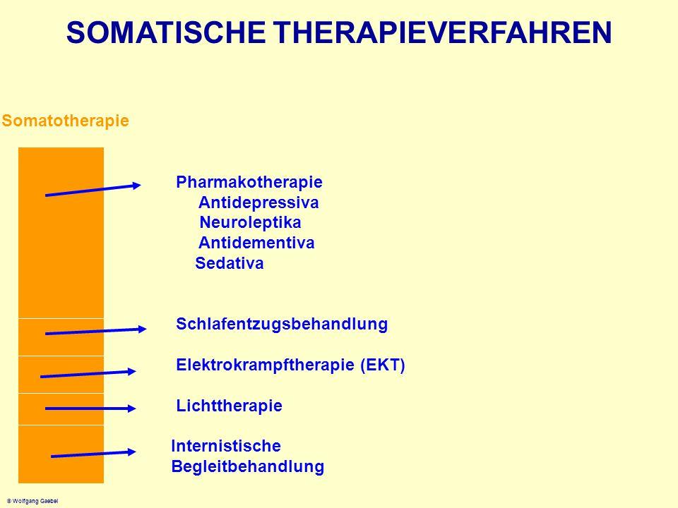 © Wolfgang Gaebel SOMATISCHE THERAPIEVERFAHREN Somatotherapie Pharmakotherapie Antidepressiva Neuroleptika Antidementiva Sedativa Schlafentzugsbehandl