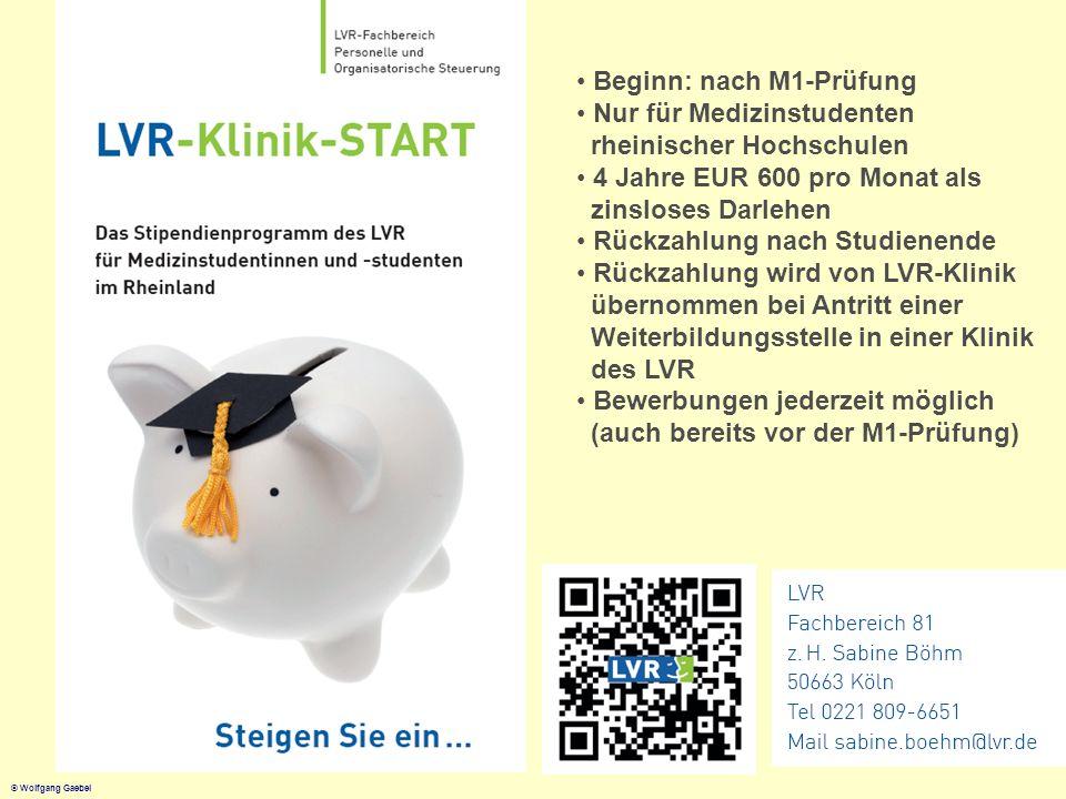© Wolfgang Gaebel Beginn: nach M1-Prüfung Nur für Medizinstudenten rheinischer Hochschulen 4 Jahre EUR 600 pro Monat als zinsloses Darlehen Rückzahlun
