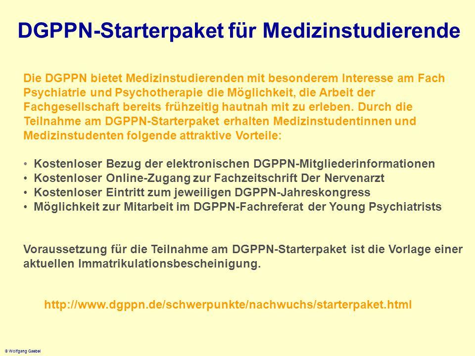 © Wolfgang Gaebel Die DGPPN bietet Medizinstudierenden mit besonderem Interesse am Fach Psychiatrie und Psychotherapie die Möglichkeit, die Arbeit der