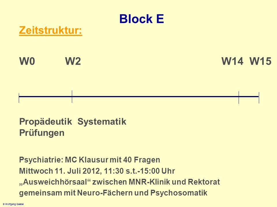 © Wolfgang Gaebel Block E Zeitstruktur: W0 W2 W14 W15 Propädeutik Systematik Prüfungen Psychiatrie: MC Klausur mit 40 Fragen Mittwoch 11. Juli 2012, 1