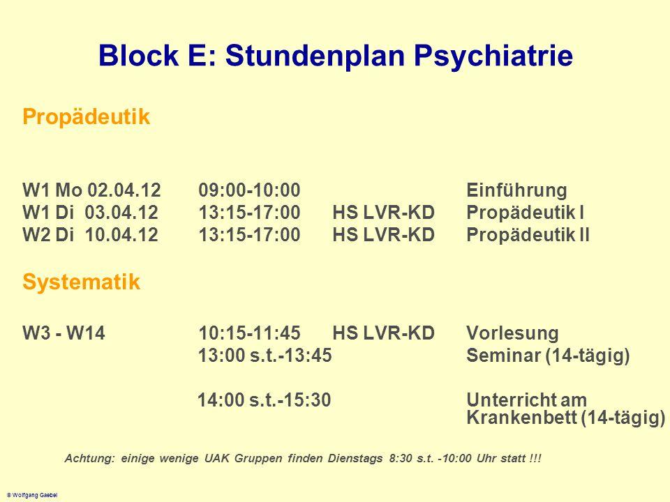 © Wolfgang Gaebel Block E: Stundenplan Psychiatrie Propädeutik W1 Mo 02.04.12 09:00-10:00Einführung W1 Di 03.04.1213:15-17:00HS LVR-KD Propädeutik I W