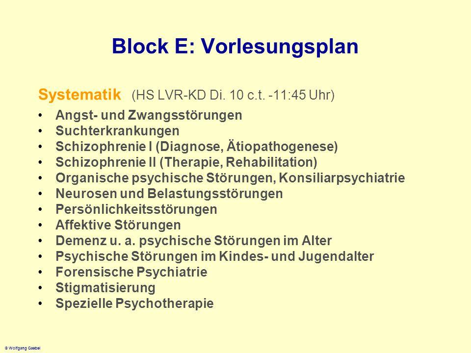 © Wolfgang Gaebel Block E: Vorlesungsplan Systematik (HS LVR-KD Di. 10 c.t. -11:45 Uhr) Angst- und Zwangsstörungen Suchterkrankungen Schizophrenie I (