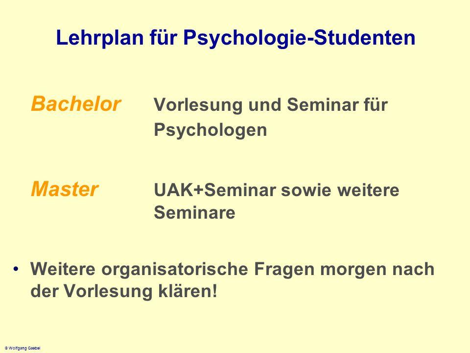© Wolfgang Gaebel Lehrplan für Psychologie-Studenten Bachelor Vorlesung und Seminar für Psychologen Master UAK+Seminar sowie weitere Seminare Weitere