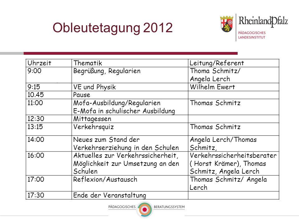 Obleutetagung 2012 UhrzeitThematikLeitung/Referent 9:00Begrüßung, RegularienThoma Schmitz/ Angela Lerch 9:15VE und PhysikWilhelm Ewert 10.45Pause 11:0