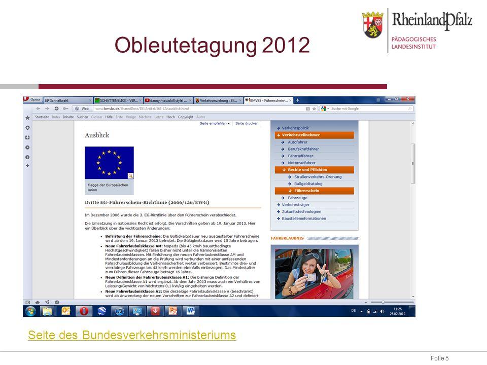 Folie 5 Obleutetagung 2012 Seite des Bundesverkehrsministeriums