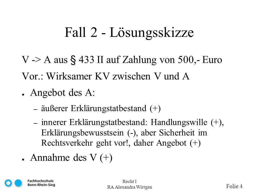 Recht I RA Alexandra Wirtgen Folie 4 Fall 2 - Lösungsskizze V -> A aus § 433 II auf Zahlung von 500,- Euro Vor.: Wirksamer KV zwischen V und A Angebot des A: – äußerer Erklärungstatbestand (+) – innerer Erklärungstatbestand: Handlungswille (+), Erklärungsbewusstsein (-), aber Sicherheit im Rechtsverkehr geht vor!, daher Angebot (+) Annahme des V (+)