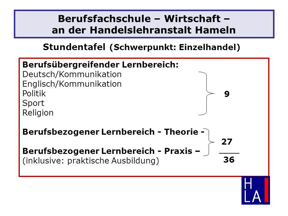 Berufsfachschule – Wirtschaft – an der Handelslehranstalt Hameln Stundentafel (Schwerpunkt: Einzelhandel) Berufsübergreifender Lernbereich: Deutsch/Ko