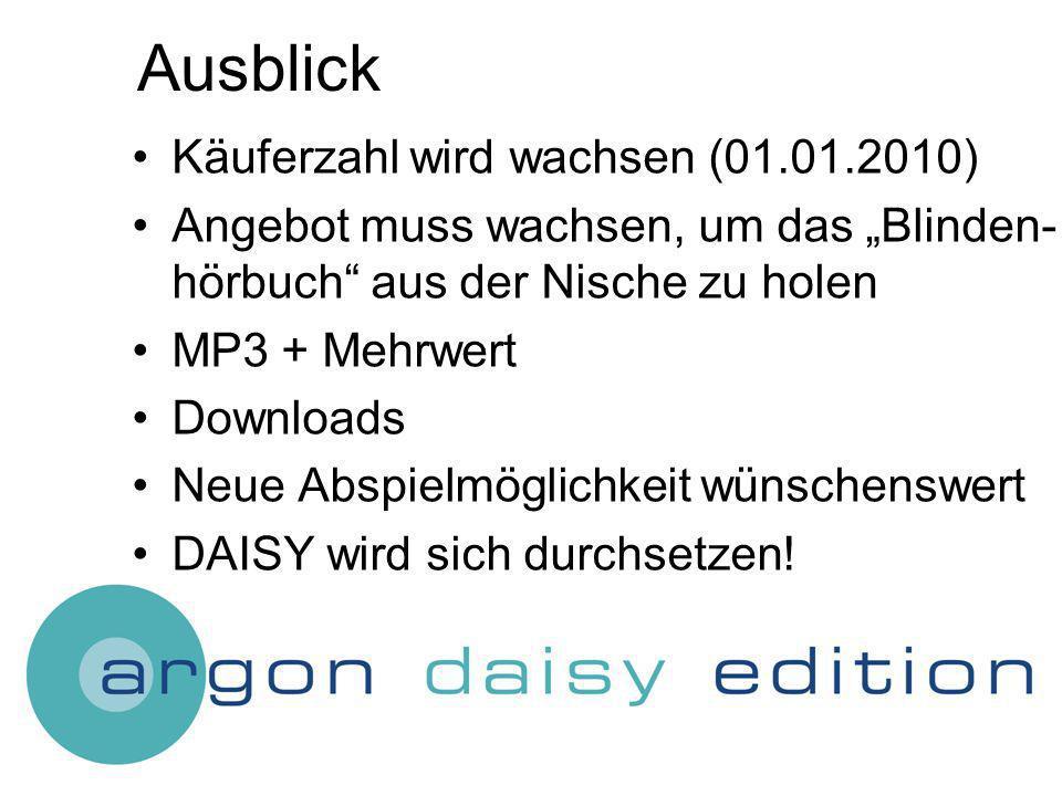 Ausblick Käuferzahl wird wachsen (01.01.2010) Angebot muss wachsen, um das Blinden- hörbuch aus der Nische zu holen MP3 + Mehrwert Downloads Neue Abspielmöglichkeit wünschenswert DAISY wird sich durchsetzen!