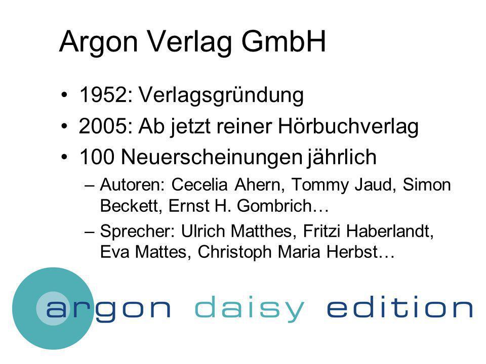 Argon Verlag GmbH 1952: Verlagsgründung 2005: Ab jetzt reiner Hörbuchverlag 100 Neuerscheinungen jährlich –Autoren: Cecelia Ahern, Tommy Jaud, Simon Beckett, Ernst H.