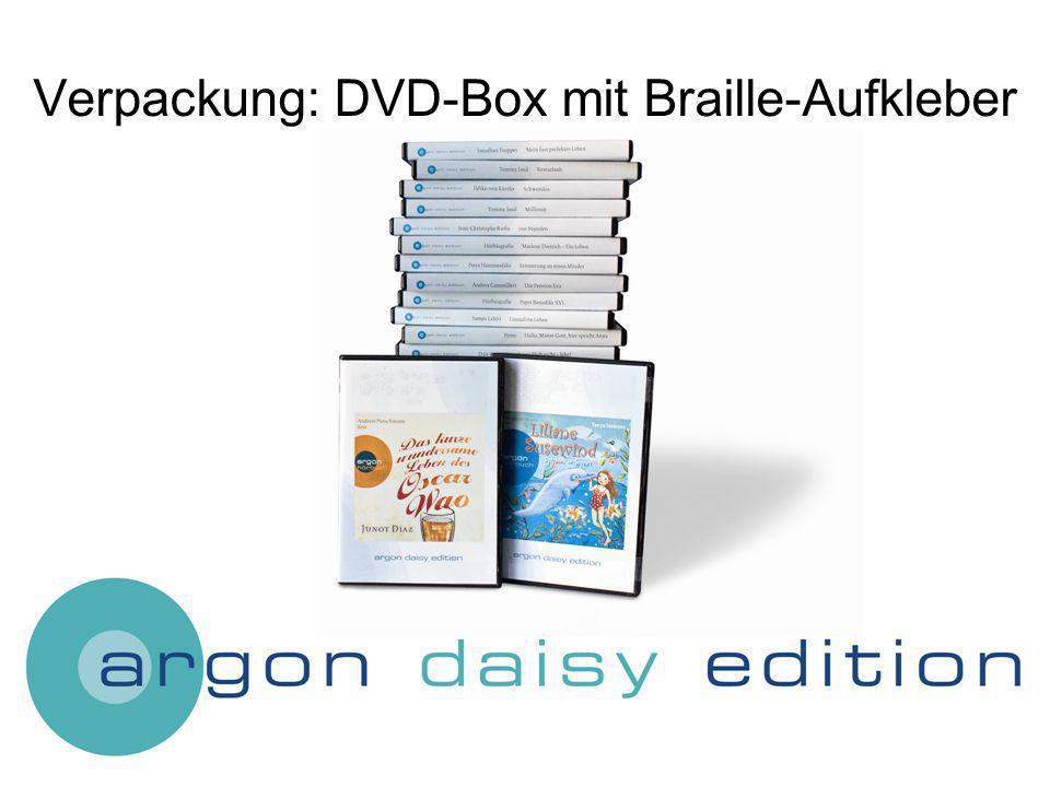 Verpackung: DVD-Box mit Braille-Aufkleber