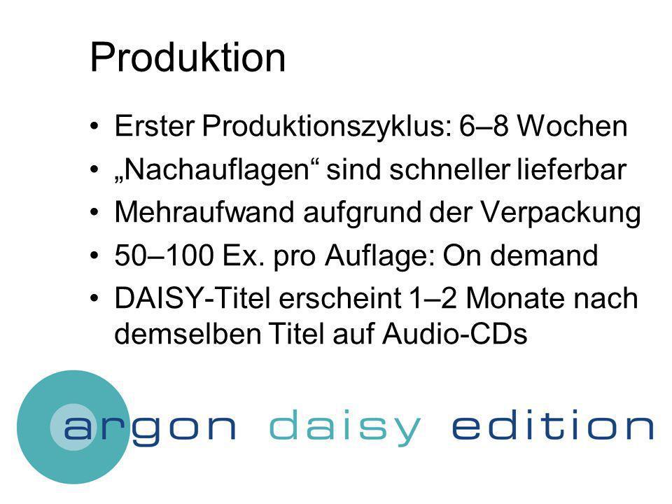 Produktion Erster Produktionszyklus: 6–8 Wochen Nachauflagen sind schneller lieferbar Mehraufwand aufgrund der Verpackung 50–100 Ex.