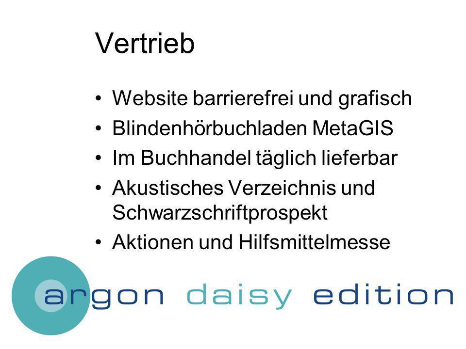 Vertrieb Website barrierefrei und grafisch Blindenhörbuchladen MetaGIS Im Buchhandel täglich lieferbar Akustisches Verzeichnis und Schwarzschriftprospekt Aktionen und Hilfsmittelmesse