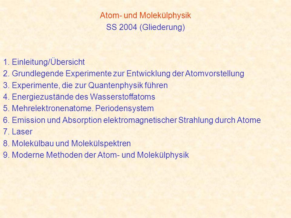 Atom- und Molekülphysik SS 2004 (Gliederung) 1. Einleitung/Übersicht 2. Grundlegende Experimente zur Entwicklung der Atomvorstellung 3. Experimente, d