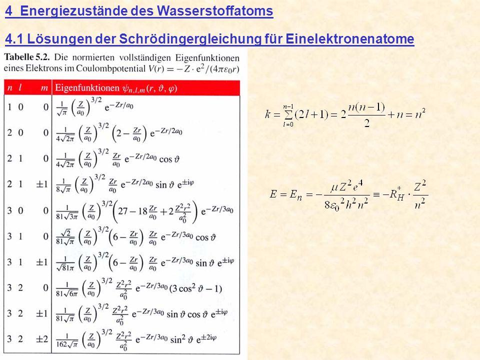 4 Energiezustände des Wasserstoffatoms 4.1 Lösungen der Schrödingergleichung für Einelektronenatome