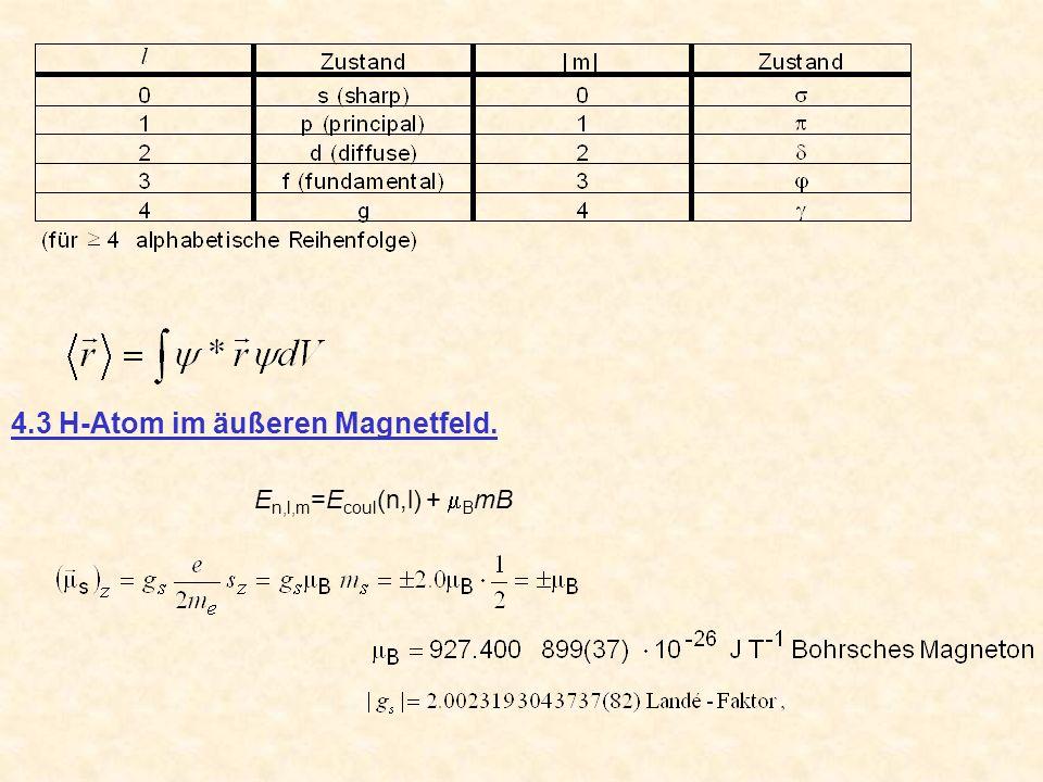 E n,l,m =E coul (n,l) + B mB 4.3 H-Atom im äußeren Magnetfeld.