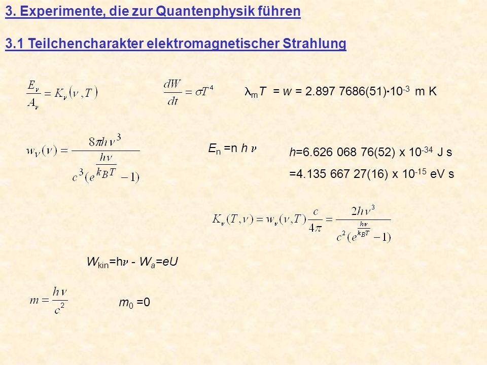 3. Experimente, die zur Quantenphysik führen 3.1 Teilchencharakter elektromagnetischer Strahlung m T = w = 2.897 7686(51) 10 -3 m K E n =n h h=6.626 0