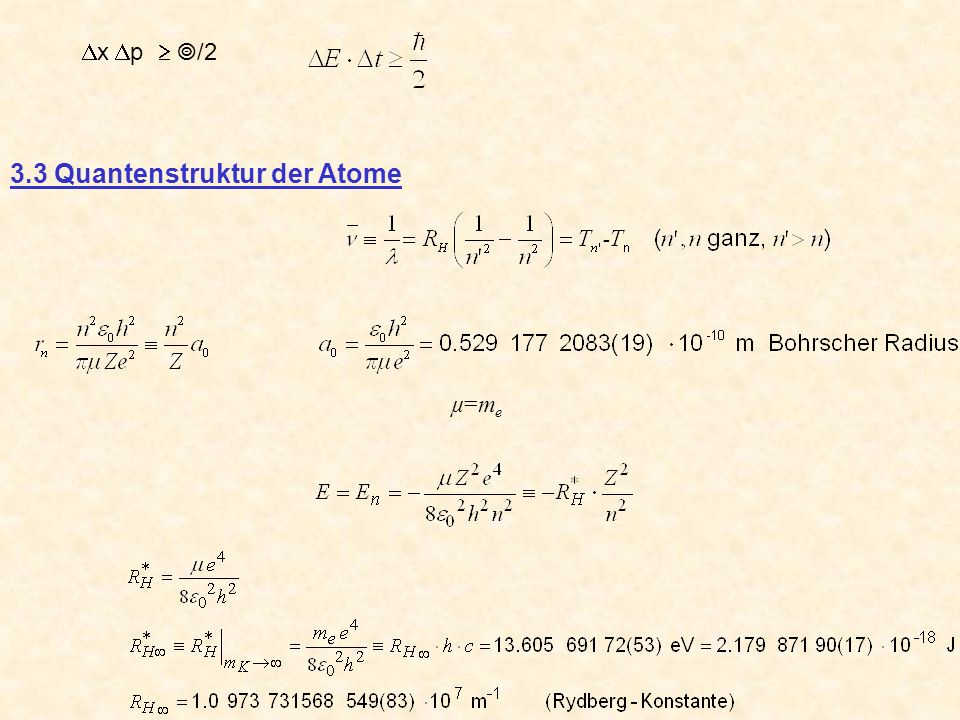 x p /2 3.3 Quantenstruktur der Atome µ=meµ=me