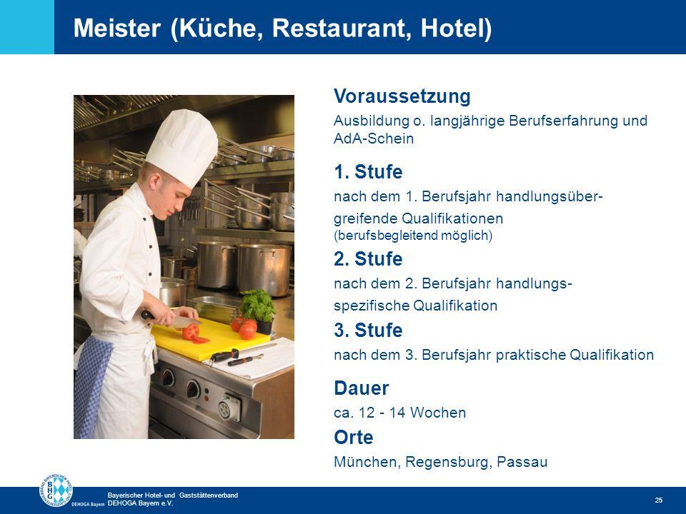 Zurück zur ersten Seite Bayerischer Hotel- und Gaststättenverband DEHOGA Bayern e.V. Meister (Küche, Restaurant, Hotel) 25 Voraussetzung Ausbildung o.