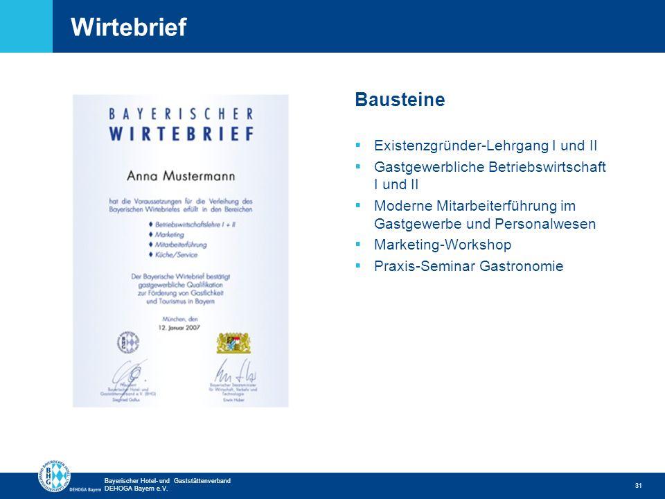 Zurück zur ersten Seite Bayerischer Hotel- und Gaststättenverband DEHOGA Bayern e.V. Wirtebrief 31 Bausteine Existenzgründer-Lehrgang I und II Gastgew