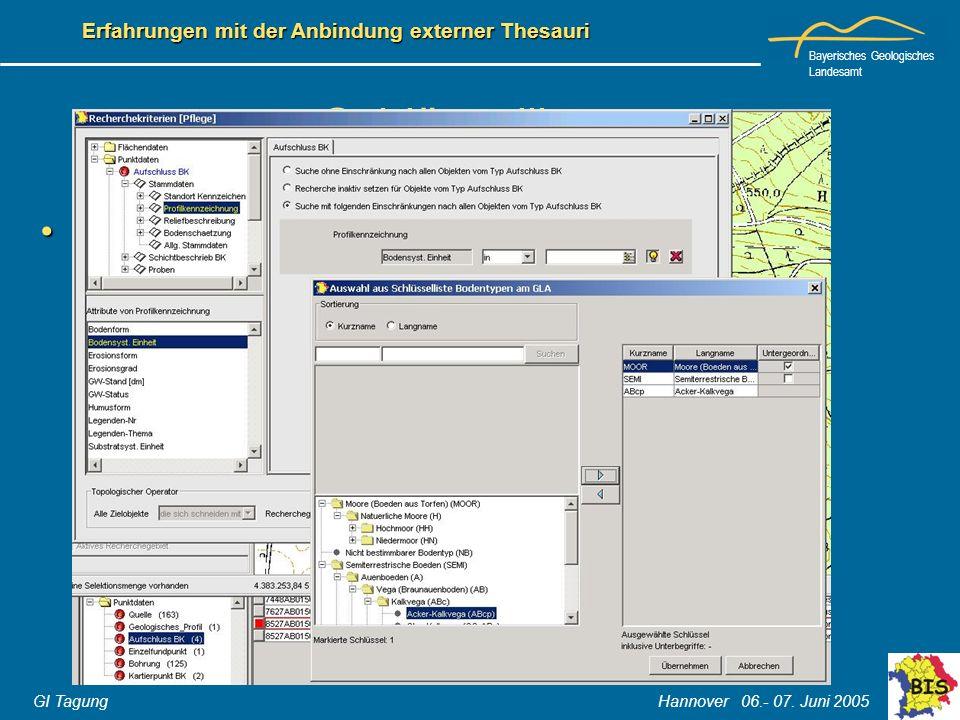 Bayerisches Geologisches Landesamt GI Tagung Hannover 06.- 07. Juni 2005 Erfahrungen mit der Anbindung externer Thesauri Schlüssellisten Vorteile der
