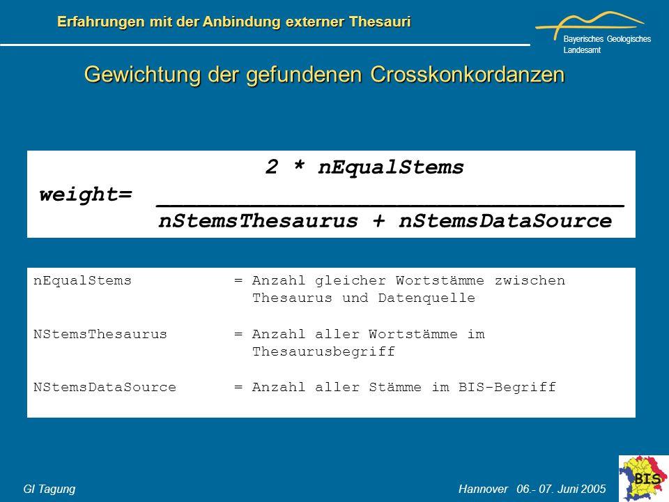 Bayerisches Geologisches Landesamt GI Tagung Hannover 06.- 07. Juni 2005 Erfahrungen mit der Anbindung externer Thesauri Gewichtung der gefundenen Cro