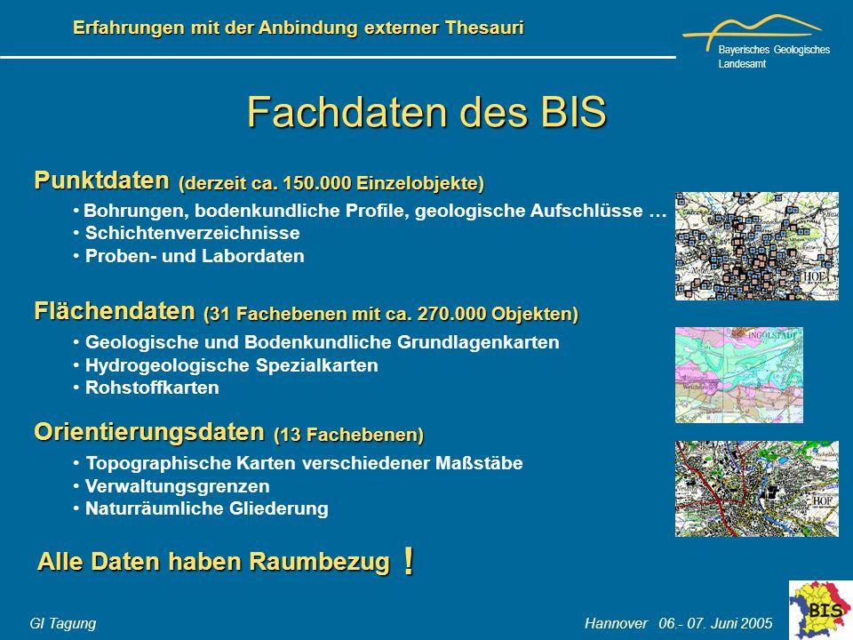 Bayerisches Geologisches Landesamt GI Tagung Hannover 06.- 07. Juni 2005 Erfahrungen mit der Anbindung externer Thesauri Fachdaten des BIS Alle Daten