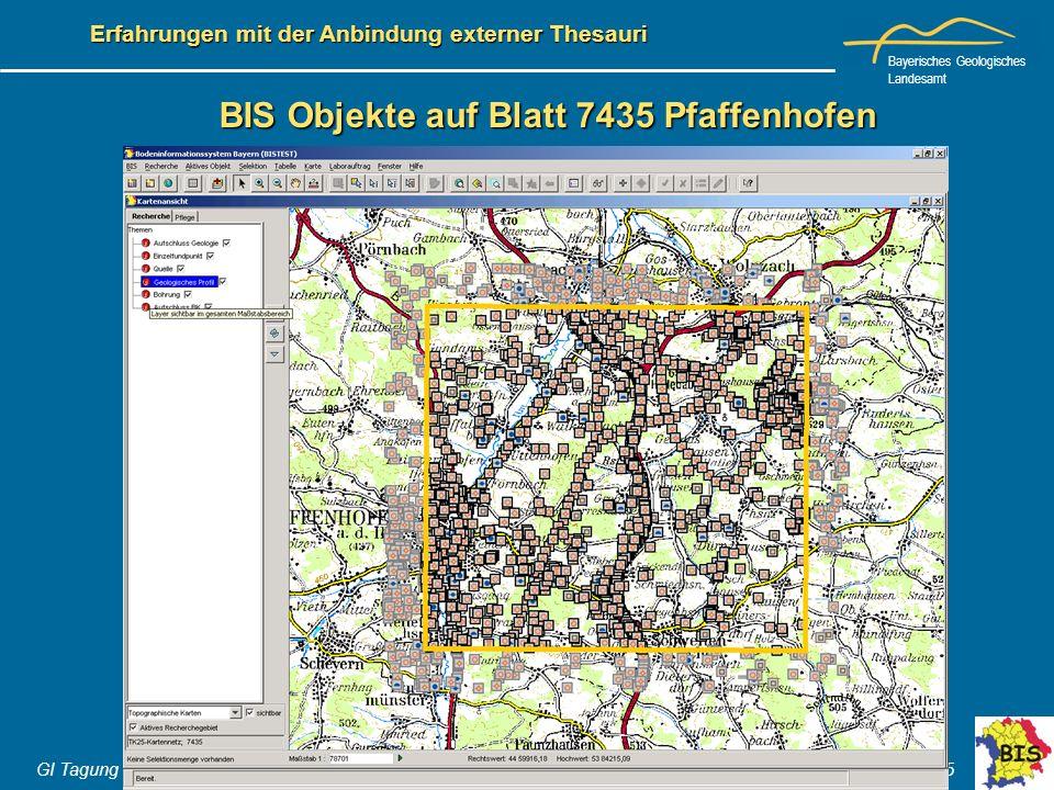 Bayerisches Geologisches Landesamt GI Tagung Hannover 06.- 07. Juni 2005 Erfahrungen mit der Anbindung externer Thesauri BIS Objekte auf Blatt 7435 Pf